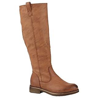 Klassische Stiefel Damen Leicht Gefüttert Boots Profilsohle Schuhe 149797 Hellbraun Camargo 38 | Flandell®