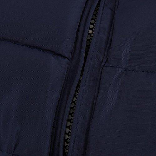 Tefamore Hommes Hiver Chaud Slim Fit veste Casual Vestes Parka Bleu