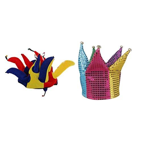 MagiDeal Sombrero de Bufón Multicolor Traje Divertido de Carnaval de Halloween + Joker Hat para Niños y Adulta Disfraz de Carnaval Accesorio de Bufón