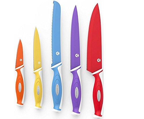 Vremi-Colorido-Set-de-Cuchillos-de-10-piezas--5-Cuchillos-de-cocina-con-5-Cubiertas-de-cuchilla--Set-de-Cuchillos-para-Chef-que-incluye-cuchillo-para-proposito-de-Chef-y-cuchillos-para-corte
