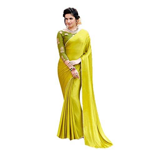 Craftsvilla Women's Satin & Silk Saree With Blouse Piece(Green ,Free Size)