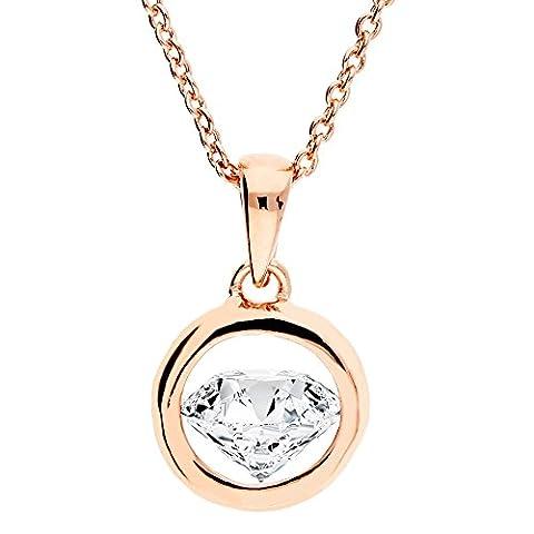 MYA art Damen Halskette Kette Ring mit Solitär Anhänger aus Swarovski Elements in Diamant Form Rosegold Vergoldet MYARGKET-18