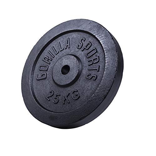 GORILLA SPORTS® Hantelscheibe Gusseisen 25 kg - Gewicht mit 30/31 mm Bohrung in Schwarz