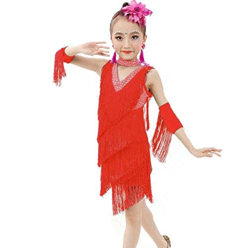 Tanzen Outfit Latin Tanzkleid Kostüm Performance Professionelle Studenten Gruppe Team Indien Mädchen Sequins Quaste Röcke . 4# . L (Vier Mädchen, Gruppe Halloween-kostüme)