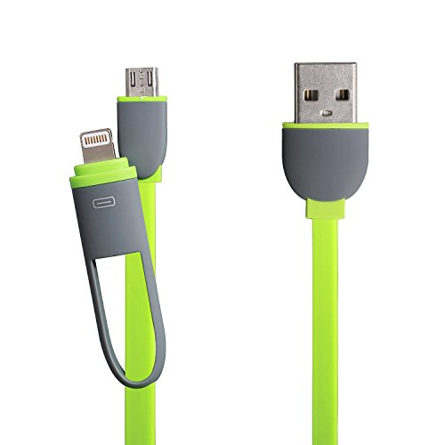 eJiasu 2 in 1 Blitz 8 Pin + Micro-USB-Sync-Daten / Lade flache USB-Kabel für iPhone 6 6S Plus 5 5s 5c se, iPad Air, Samsung, HTC und andere Android-Handys Tablet (3.3ft / 1m) (Grün) 6 Ft Samsung Tablet Ladegerät