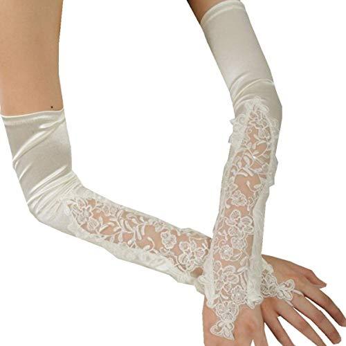 PANAX Damen extra lang Handschuhe aus elastisch Satin Spitze Beige - Stulpen in Einheitsgröße für Frauen, Hochzeiten, Opern, Veranstaltungen, Fasching, Karneval, Tanzen, ()