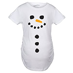 Crazy Dog Tshirts Maternity Snowman Buttons Funny Pregnancy Bump Tee Cute Christmas T Shirt