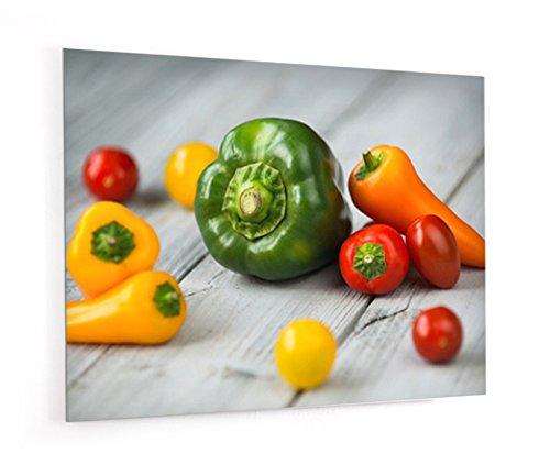 """Fond de hotte en panneau composite aluminium ou crédence de cuisine prête à poser avec adhésif double face """"Poivron et piment"""" - L. 90 x H. 70 cm - Epaisseur 3 mm - [ Impression Murale® ]"""