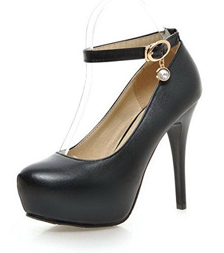 AllhqFashion Femme Boucle Rond à Talon Haut Pu Cuir Couleur Unie Chaussures Légeres Noir