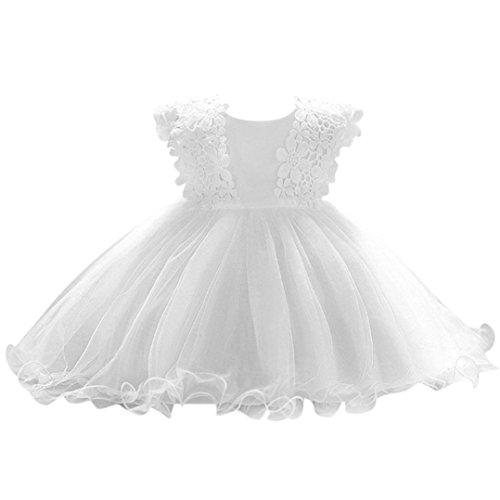 Baby Mädchen Prinzessin Kleid Blumenmädchenkleid Taufkleid Festlich Kleid Hochzeit Partykleid Festzug Babybekleidung Xinantime (0-6Monat, Weiß)