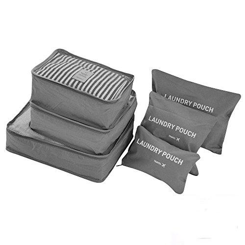 ORGANIZADOR PARA MALETAS SET 6 PC GRANDES EMBALAJES CUBOS VIAJES Bolsos en bolsa ORGANIZADORES DE ALTA CALIDAD (gris)