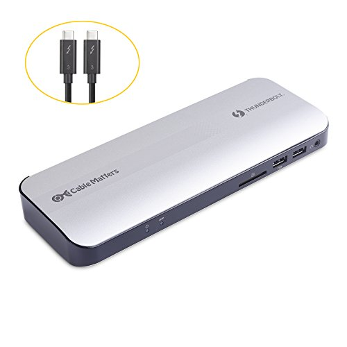 [Certified] Cable Matters Aluminum Thunderbolt 3 Docking Station with Dual 4K 60Hz Video and 60W Power Delivery for Windows & Mac (Not Compatible with USB-C Ports without the Thunderbolt Logo)