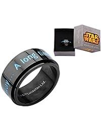 """Star Wars """" hace mucho tiempo en una galaxia muy, muy lejos... """" de acero inoxidable IP con hilandero del anillo"""