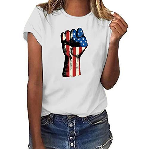 ZEELIY ✔️ Damen Tshirt American Flag✔️ Frauen Mode runder-Ausschnitt Tops USA Flagge Print Shirt Kurzarm Womens Casual Bluse
