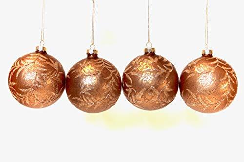 Gisela graham: set di 4rotondo 8cm palle di natale in vetro da appendere–new for christmas 2016, vetro, bronze marbled