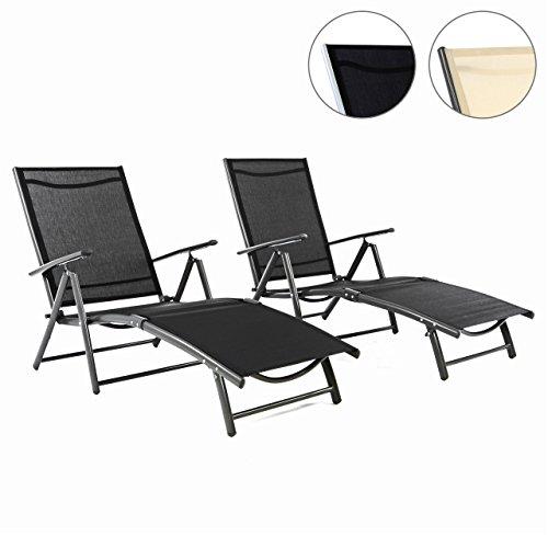 Nexos 2er Set Gartenliege Sonnenliege Liegestuhl Klappliege – für Terrasse Balkon – klappbare Liege aus Alu & Stahl & Textilene - schwarz anthrazit