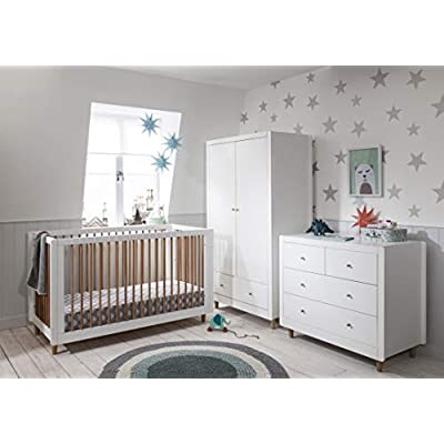 Tutti Bambini Sienna Nursery Furniture Set | Cot Bed, Chest of Drawers & Wardrobe in Solid Wood Furniture (White & Pine) | Three Piece