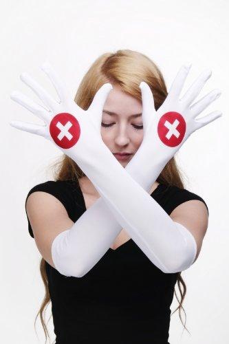 Karneval Fasching Handschuhe Damenhandschuhe Krankenschwester Nurse Schwester lang weiß Z079