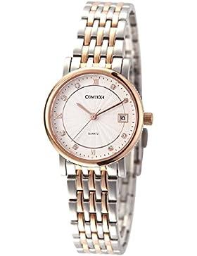 Comtex Damen Quarz Armbanduhr mit Rosen-Golden Gehäuse Edelstahl Uhrarmband Kalender