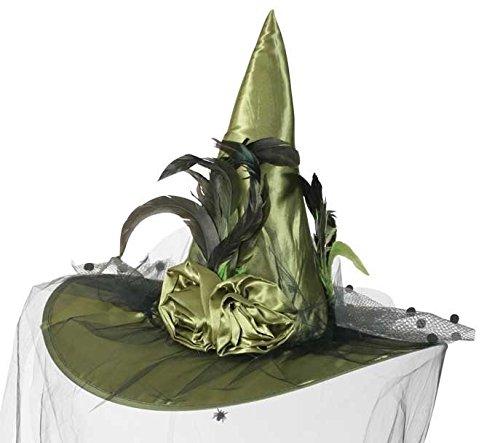 Luxus Hexenhut mit Schleier und Federbesatz Hexe - in 4 Farben erhältlich (grün)