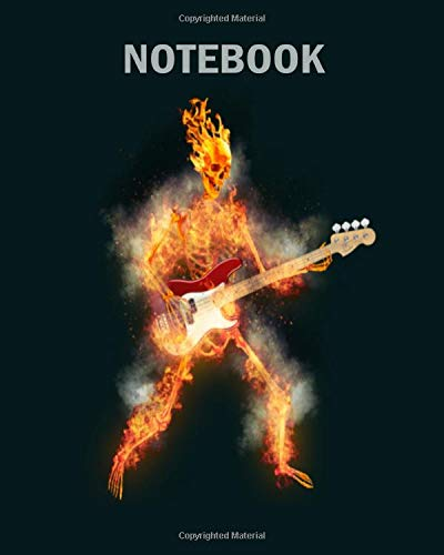 Notebook: flaming skeleton base guitarist - 50 sheets, 100 pages - 8 x 10 inches