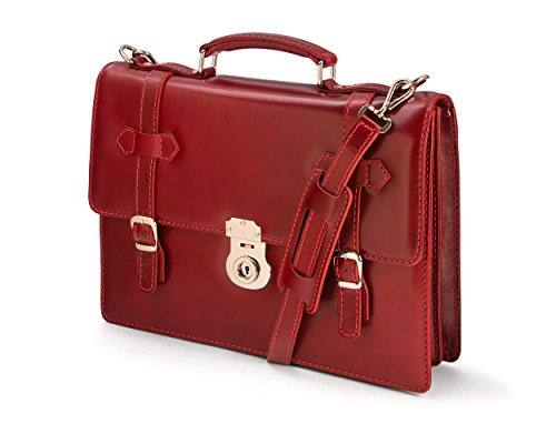 SAGEBROWN Red Vintage Cambridge Briefcase