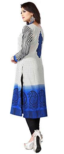 Maple Kleidung Kurti Tunika Top Printed Damen Bluse Indien Kleidung Blau