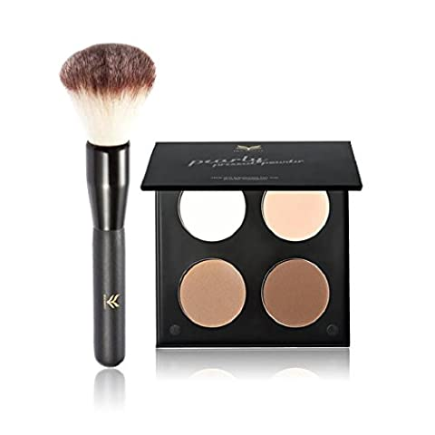 Anglewolf 4-Color Repair Capacity Waterproof High-Pearl Matte Eye Shadow Powder + Brush (C)