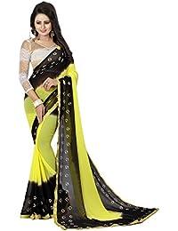 Pramukh Store Chiffon Saree (Black Yellow, Free Size)