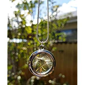 Muttertagsgeschenk Sterling Silber kette Löwenzahn Pusteblumen-Anhänger Halskette - schwimmende Medaillon Sterling Silber Kette für Frauen Geburtstagsgeschenk