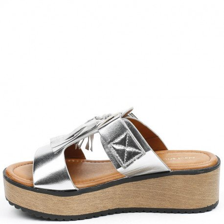 Ideal Shoes - Mules nacrées à franges et plateforme Laurencia Argent