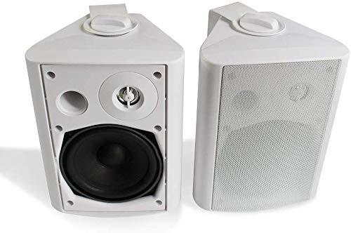Herdio Haut-parleurs de Patio intérieur pour extérieur, 5,25 Pouces, 200 Watts Système de Fixation Murale Tout Temps, Une Paire (Blanc)
