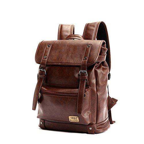 YFbear Retrò Vintage Zaini in Pelle PU Esterni Viaggi Zaino Scuola Borsa a Tracolla fit iPad e 14' Laptop Backpack per Uomo e Donna (Caffè)