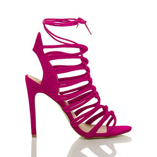 Damen Hoch Absatz Reimchen Ausgeschnitten Schnür-Pumps Sandalen Schuhe Größe Fuchsie Wildleder