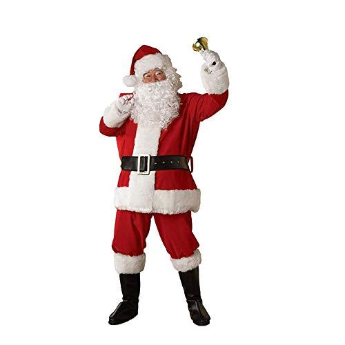 Männer Kostüm Mystery - Mystery&Melody 5 Stücke Weihnachtsmann Kostüm für Männer mit Schnurrbart, Gürtel, Hose, Kleidung, Hut