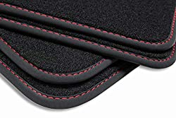 teileplus24 BGF464 Ganzjahres-Fußmatten, Oberseite aus dichtem Velours, wasserundurchlässige Gummi-Rückseite, Nubuk Bandeinfassung, Original Befestigungssystem, Ziernähte, Naht:Rot