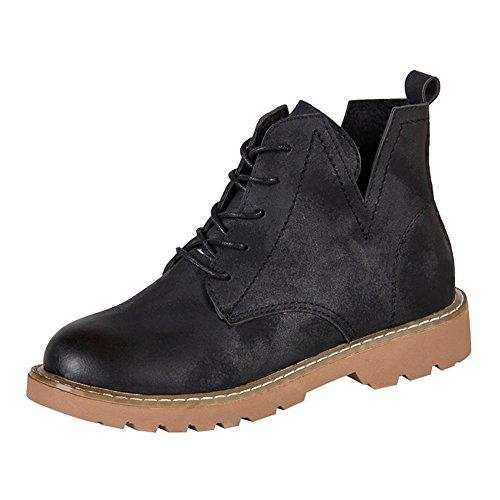 JURTEE Frauen Niedrige Ankle Trim Flache Runde Zehe Ankle Lederstiefel Casual Schuhe Boots Mit Blockabsatz Profilsohle