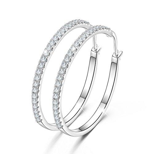 Orecchini a cerchio in argento 925, anelligrandi e rotondi con pavé di Zirconi cubici, da donna