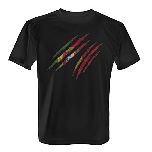 Fashionalarm Herren T-Shirt - Portugal - Kratzer | 2018 Cooles Fan Shirt Trikot Fußball Weltmeisterschaft WM Weltmeister Flagge Fahne, Farbe:Schwarz;Größe:4XL