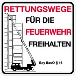 Schild Rettungswege für Feuerwehr 50x50cm Alu Bauordnung/Paragraph nach Angabe
