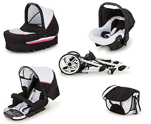 SaintBaby Stroller Pram Pushchair 2in1 3in1 Set All in one Baby seat Buggy X-Move GO White & Pink 3in1 with Baby seat SaintBaby 3in1 or 2in1 Selectable. At 3in1 you will also receive the car seat (baby seat). Of course you get the baby tub (classic pram) as well as the buggy attachment (sports seat) no matter if 2in1 or 3in1. The car naturally complies with the EU safety standard EN1888. During production and before shipment, each wagon is carefully inspected so that you can be sure you have one of the best wagons. Saintbaby stands for all-in-one carefree packages, so you will also receive a diaper bag in the same colour as the car as well as rain and insect protection free of charge. With all the colours of this pram you will find the pram of your dreams. 4