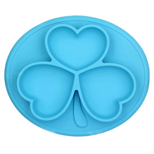 raymoon-kids-placemat-divided-suction-plate-in-one-blue-clover-design-no-mess-toddler-baby-feeding-s