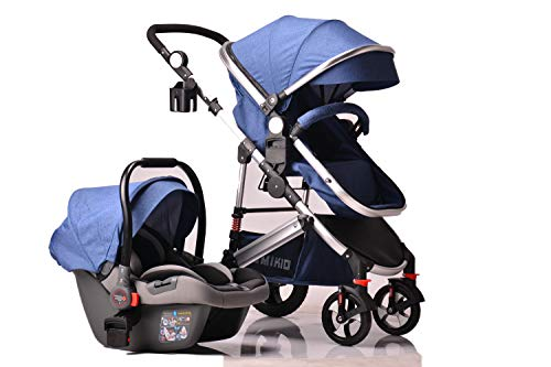 Pram Travel System 3 in 1 Combi Stroller Buggy Baby Child Pushchair Reverse or Forward Facing Rain Cover Mosquito Net Bottle Holder Foldable with FootMuff (Denim Blue with Silver Frame)
