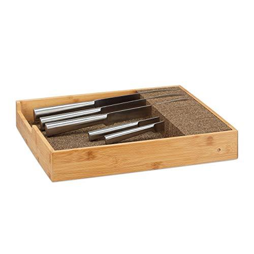 Relaxdays Messerhalter Bambus, Schubladeneinsatz für Messeraufbewahrung, Schubladenorganizer, HBT: 6,5x38x33,5cm, natur