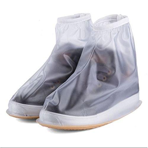 Oriskey 1Paar Regenüberschuhe Wasserdicht Schuhe Abdeckung Stiefel Flache Regen Überschuhe Regenkombi Schuhüberzieher Rutschfestem für Damen Mädchen Herren Jungen,Weiß,XL