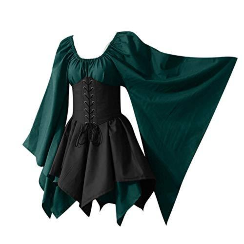 lalter Retro KleidungKleider Damen Kostüm Hohe Taille Slim Flare Sleeve Lace Up Kleider für Karneval Fasching Vintage Halloween Cosplay Kostüm ()