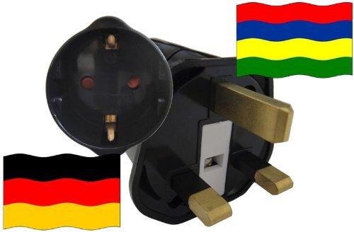 Preisvergleich Produktbild Urlaubs Reiseadapter Mauritius für Geräte aus Deutschland Kindersicherung und Schutzkontakt 250V