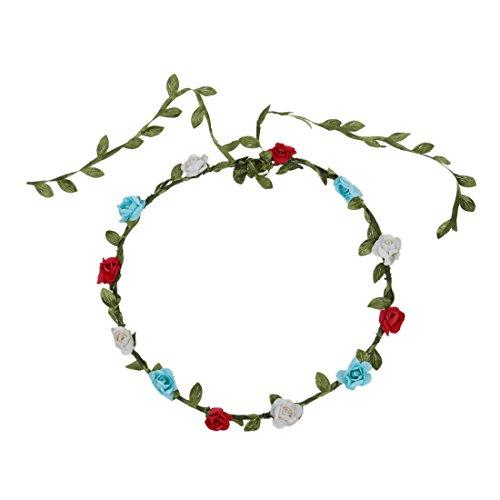 SODIAL(R) Guirlande Couronne Aureole Florale de Branche de Fleurs Roses pour Festival Mariage Outil de Photographie Taille Adulte
