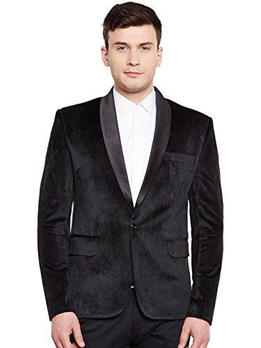 Wintage Männer Premium-Samt-Kerbe Revers Smoking-Mantel-Blazer-Jacke: Schwarz, XL