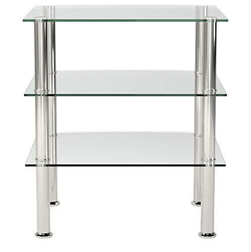 Haku-Möbel 15209 Beistelltisch, Glas 5mm, Edelstahl-Klarglas, 54 x 45 x 61